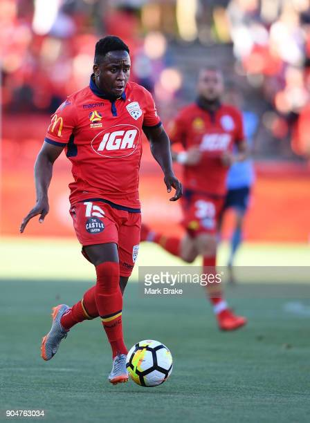 Mark Ochieng of Adelaide United during the round 16 ALeague match between Adelaide United and Sydney FC at Coopers Stadium on January 14 2018 in...