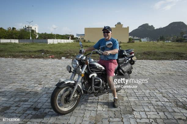 Mark O'Connor a former US Marine and avid Donld Trump supporter parks his motorbike nearby the Hyatt Resort in the central Vietnamese city of Danang...