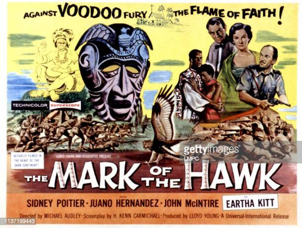Mark Of The Hawk lobbycard Sidney Poitier Eartha Kitt John McIntire Helen Horton Ewen Solon 1958