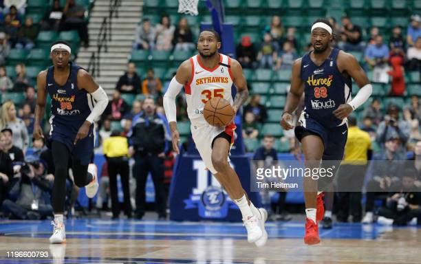 Mark Ogden Jr. #35 of the College Park Skyhawks drives up court against Chad Brown of the Texas Legends during the second quarter on January 26, 2020...