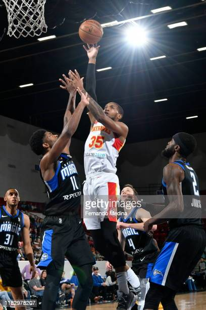 Mark Ogden Jr #35 of the College Park Skyhawks shoots against Amile Jefferson of the Lakeland Magic during the game on November 15 2019 at RP Funding...