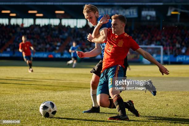 Mark Oliver Roosnupp of Estonia U21 competes for the ball with Toni Lato of Spain U21 during the 2019 UEFA Under 21 qualification match between Spain...