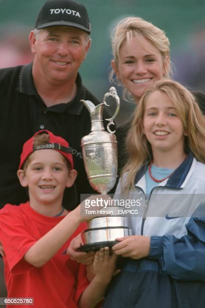 Mark O'Meara and his family wife Alicia and children Michelle and Shaun pose with the Trophy