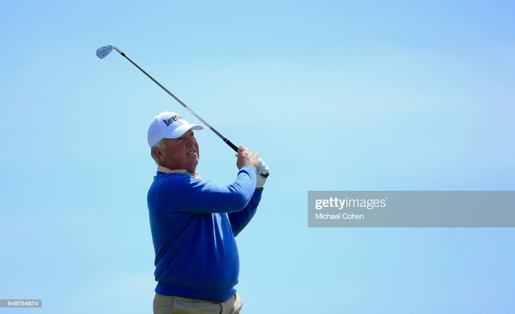 Mark O'Meara hits his tee shot on the ninth hole during the second round of the PGA TOUR Champions Bass Pro Shops Legends of Golf at Big Cedar Lodge held at Top of the Rock on April 20, 2018 in Ridgedale, Missouri.