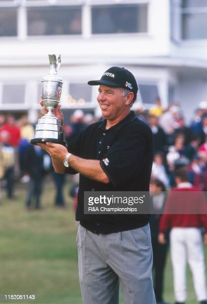 Mark O'Meara of the United States holds the Claret Jug following his victory during The 127th Open Championship held at Royal Birkdale Golf Club from...