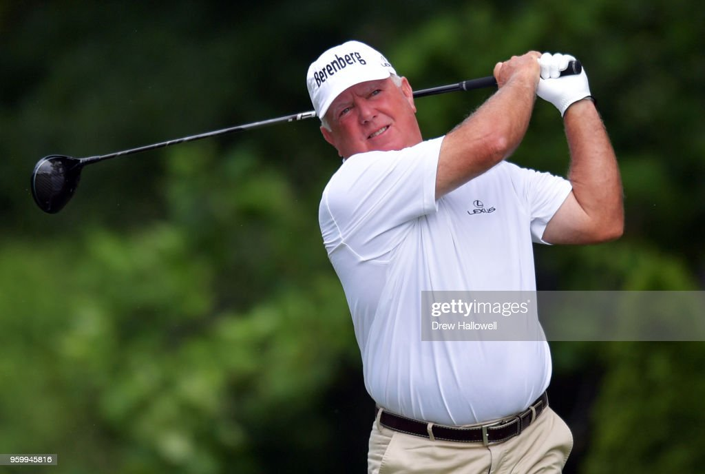 Mark O'Meara of the United States plays his tee shot on the ninth hole during the second round of the Regions Tradition at the Greystone Golf & Country Club on May 18, 2018 in Birmingham, Alabama.