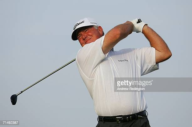 Mark O'Meara of USA tees off on the 2nd hole during the second round of The Open Championship at Royal Liverpool Golf Club on July 21 2006 in Hoylake...