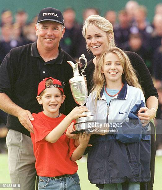 Mark Omeara with wife Alicia and children July 1998 Michelle OMeara Shaun OMeara holding trophy after winning the Open Golf Championship Birkdale 1998