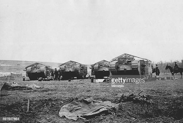 Mark One heavy tanks seen here being prepared for battle on the Somme battlefield on the Western Front. September 1916