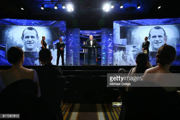 Mark O'Neill accepts the Hall Of Fame award for his late father Norman O'Neill at the 2018 Allan Border Medal at Crown Palladium on February 12 2018...