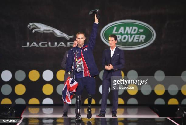 Mark Ormrod and Miles Teller speak onstage during the closing ceremony of the Invictus Games 2017 at Air Canada Centre on September 30 2017 in...