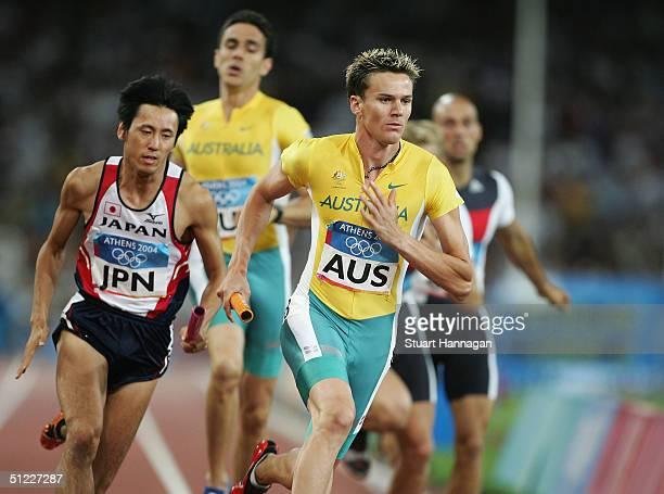 Mark Ormrod of Australia competes in the men's 4 x 400 metre relay on August 27 2004 during the Athens 2004 Summer Olympic Games at the Olympic...