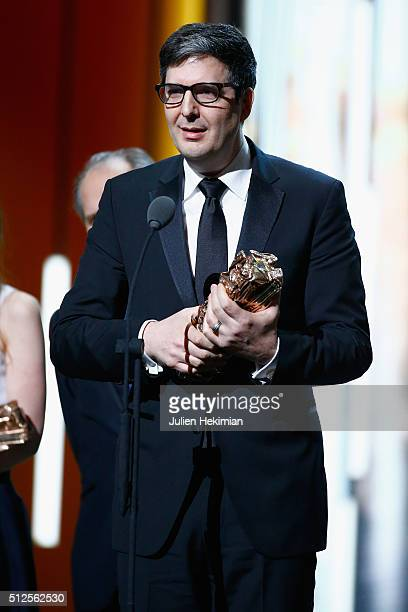 Mark Osborne poses with his award of Best Animated Feature for the movie 'Le Petit Prince' during The Cesar Film Awards 2016 at Theatre du Chatelet...