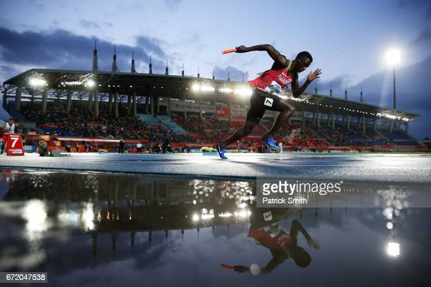 Mark Otieno Odhiambo of Kenya competes in the heat one of the Men's 4x200 Metres Relay during the IAAF/BTC World Relays Bahamas 2017 at Thomas...