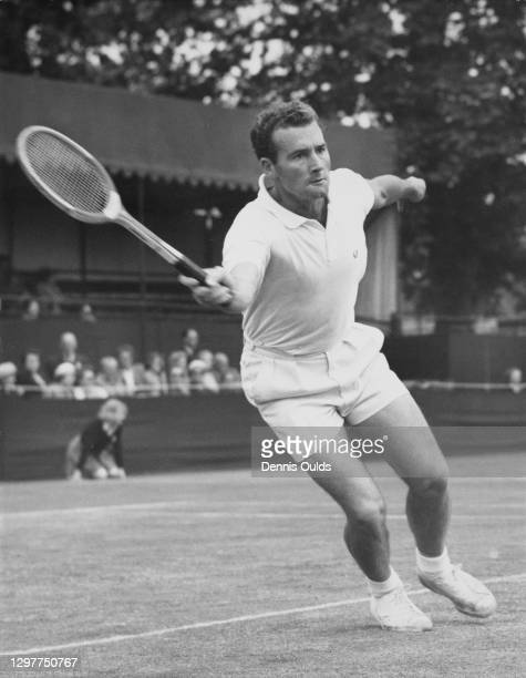 Mark Otway of New Zealand reaches to make a forehand return against Alex Olmedo Rodriguez during their Men's Singles match at the Kent Tennis...