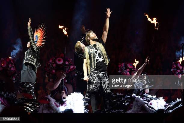Mark Owen and Howard Donald of Take That perform on the opening night of Wonderland Live 2017 at Genting Arena on May 5 2017 in Birmingham United...