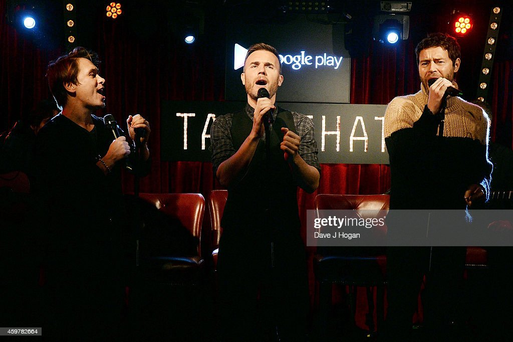 Mark Owen, Gary Barlow and Howard Donald of Take That perform live at an Exclusive Google Play gig to launch Take That's new album 'III' which will be available to stream exclusively on Google Play throughout December at Dover St Arts Club on December 1, 2014 in London, England.