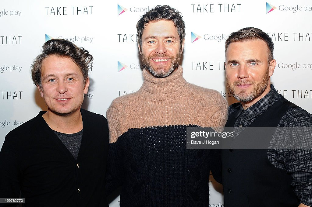 Mark Owen, Howard Donald and Gary Barlow of Take That attend an Exclusive Google Play gig to launch Take That's new album 'III' which will be available to stream exclusively on Google Play throughout December at Dover St Arts Club on December 1, 2014 in London, England.