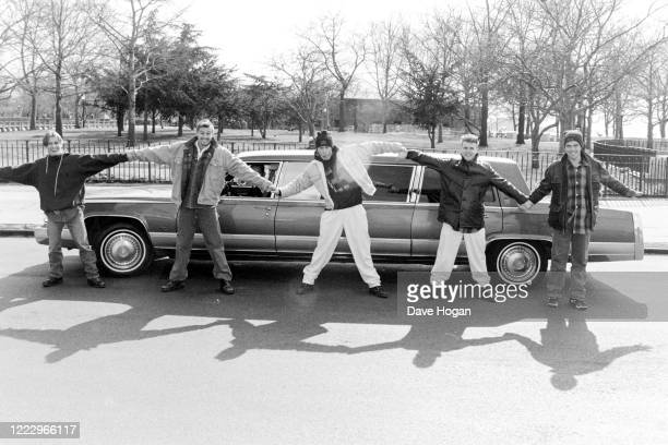 Mark Owen, Howard Donald, Gary Barlow, Robbie Williams and Jason Orange of Take That in New York 1995