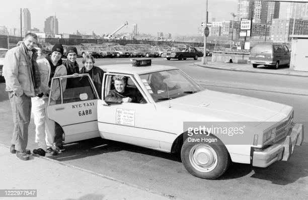 Mark Owen, Howard Donald, Gary Barlow, Robbie Williams and Jason Orange of Take That in a New York cab, NY, 1995