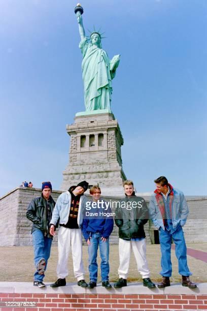 Mark Owen, Howard Donald, Gary Barlow, Robbie Williams and Jason Orange of Take That in New York, 1995