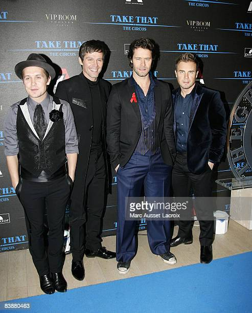 Mark Owen Jason Orange Howard Donald and Gary Barlow of Take That attend a launch party for their new album 'The Circus' held at the VIP Room Theater...