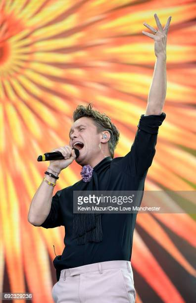 Mark Owen of Take That performs on stage during the One Love Manchester Benefit Concert at Old Trafford Cricket Ground on June 4 2017 in Manchester...