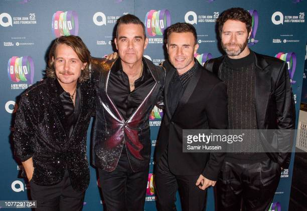 """Mark Owen, Robbie Williams, Gary Barlow and Howard Donald attend a charity gala performance of """"The Band"""" in aid of the Elton John AIDS Foundation at..."""