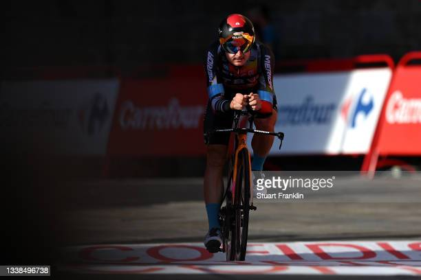 Mark Padun of Ukraine and Team Bahrain Victorious crosses the finishing line during the 76th Tour of Spain 2021, Stage 21 a 33,8 km Individual Time...