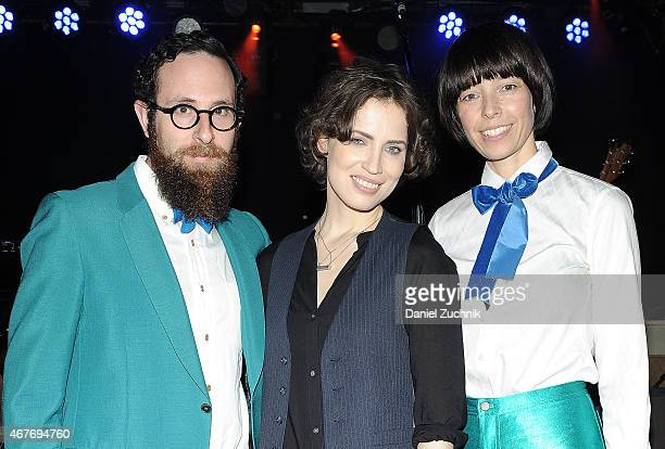Mark Palmer and Anthea White of The Hipstones with Janita Maria Ervi attend the Janita Record Release Event at Webster Hall on March 26 2015 in New...