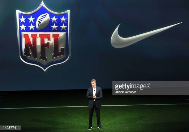 Mark Parker NikeInc CEO speaks as Nike debuts the new NFL uniforms on April 3 2012 in New York City