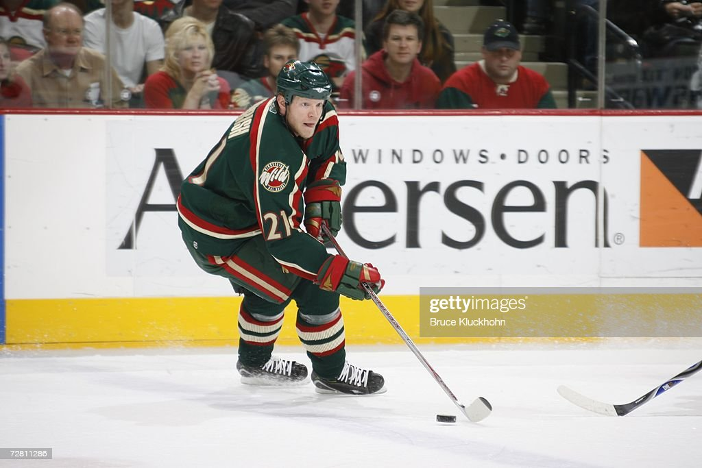 Mark Parrish Of The Minnesota Wild Skates Against The Chicago Black
