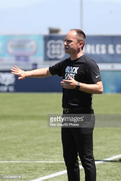Mark Parsons Head Coach of Portland Thorns FC instructs his team during a game between Portland Thorns FC and North Carolina Courage at Zions Bank...