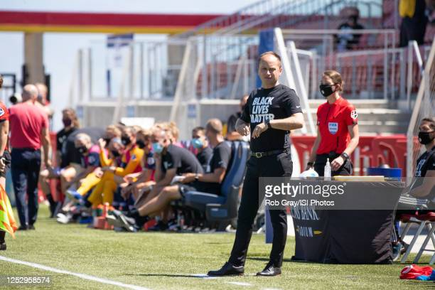 Mark Parsons Head Coach of Portland Thorns FC looks on during a game between Portland Thorns FC and North Carolina Courage at Zions Bank Stadium on...