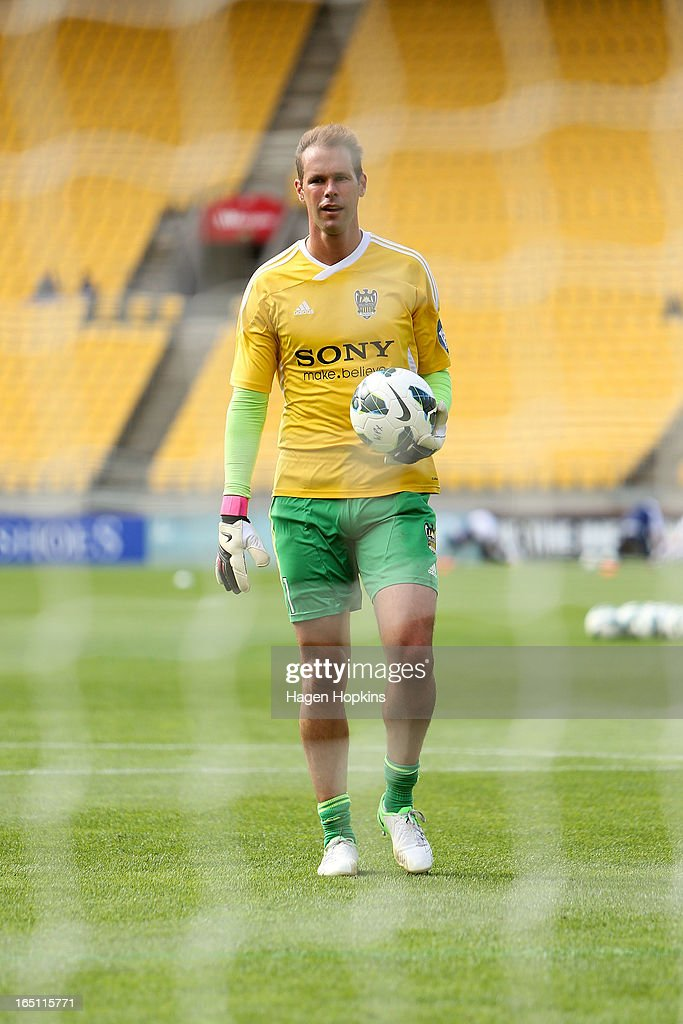 Mark Paston of the Phoenix looks on while warming up during the round 27 A-League match between the Wellington Phoenix the Melbourne Victory at Westpac Stadium on March 31, 2013 in Wellington, New Zealand.