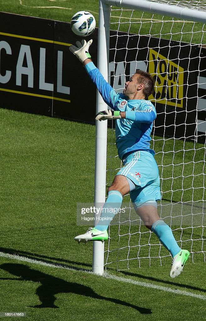 Mark Paston of the Phoenix makes a save during the round 18 A-League match between the Wellington Phoenix and the Newcastle Jets at Westpac Stadium on January 27, 2013 in Wellington, New Zealand.