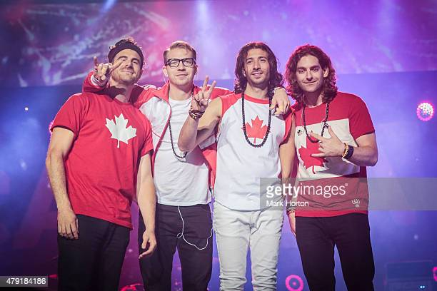 Mark Pellizzer Alex Tanas Nasri and Ben Spivak of Magic perform during Canada Day celebrations on Parliament Hill on July 1 2015 in Ottawa Canada