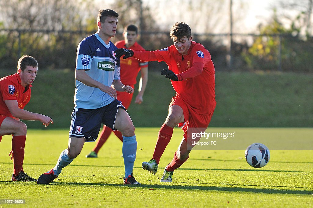 Mark Pelosi of Liverpool in action during U21 Barclays Premier League match between Liverpool U21 and Middlesbrough U21 at The Academy on November 23, 2012 in Liverpool, England.