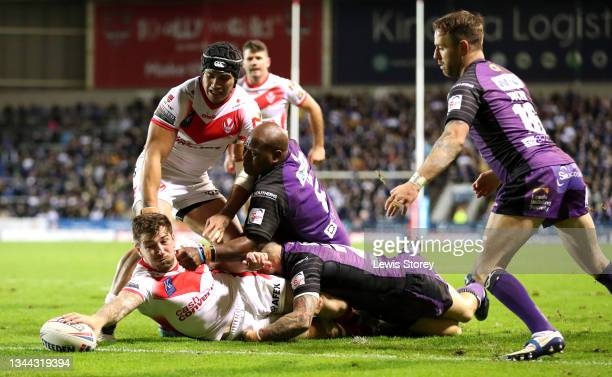 Mark Percival of St Helens goes over to score his side's third try during the Betfred Super League Play-Off Semi Final match between St Helens and...