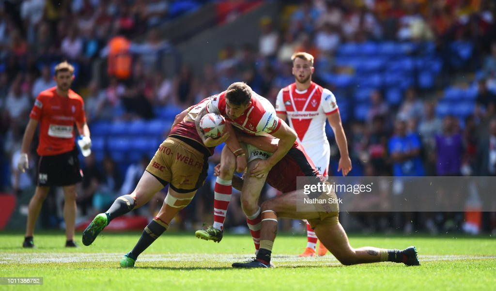 Mark Percival of St Helens in action during the Ladbrokes Challenge Cup Semi Final match between St Helens and Catalans Dragons at Macron Stadium on August 5, 2018 in Bolton, England.