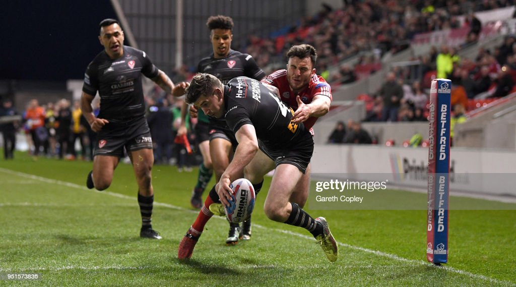 Mark Percival of St Helens scores a second half try during the Betfred Super League match between Salford Red Devils and St Helens at AJ Bell Stadium on April 26, 2018 in Salford, England.