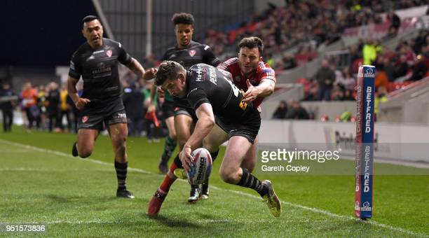 Mark Percival of St Helens scores a second half try during the Betfred Super League match between Salford Red Devils and St Helens at AJ Bell Stadium...
