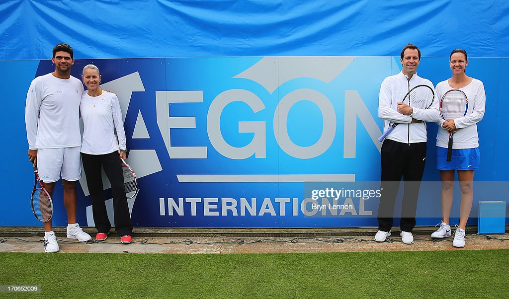 Mark Philippoussis and Rennae Stubbs of Australia pose with Lindsay Davenport of USA and Greg Rusedski of Great Britain on Legends' Day during day two of the AEGON International tennis tournament at Devonshire Park on June 16, 2013 in Eastbourne, England.