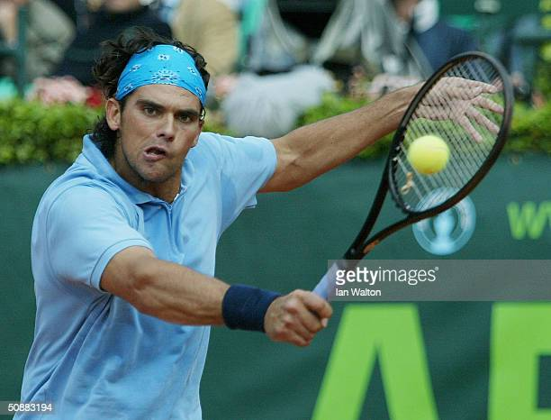 Mark Philippoussis of Australia celebrates winnig his match against Mariano Zabaleta of Argentina during the ATP 2004 ARAG World Team Cup at the...