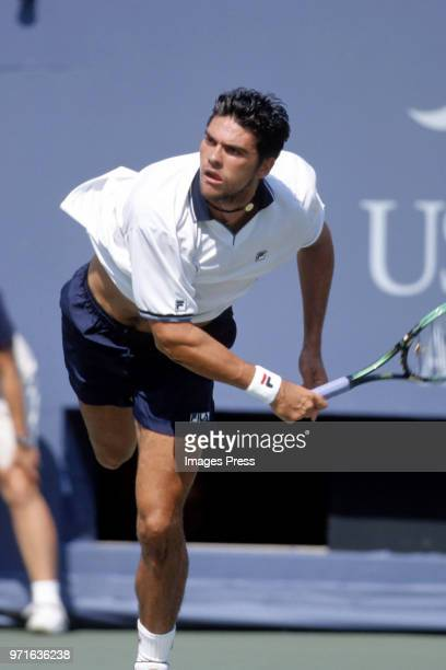 Mark Philippoussis plays tennis at the US Open circa 1998 in New York City