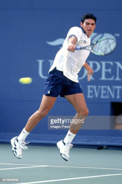 Mark Phillippoussis plays tennis at the US Open circa 1998 in New York City