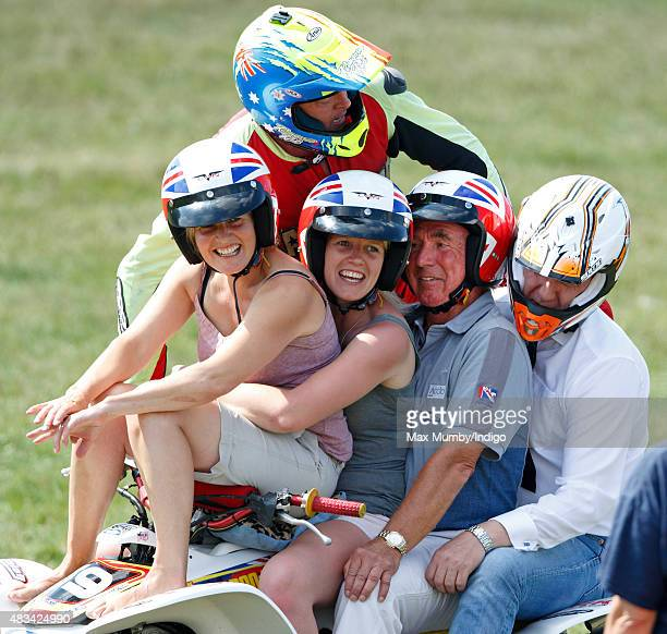 Mark Phillips takes part in a quad bike stunt display on day 2 of the Festival of British Eventing at Gatcombe Park on August 8, 2015 in Stroud,...