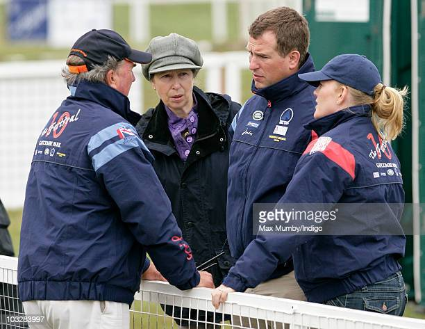Mark Phillips talks with his ex-wife Princess Anne, The Princess Royal, his son Peter Phillips and Peter's wife Autumn Phillips as they attend day 2...