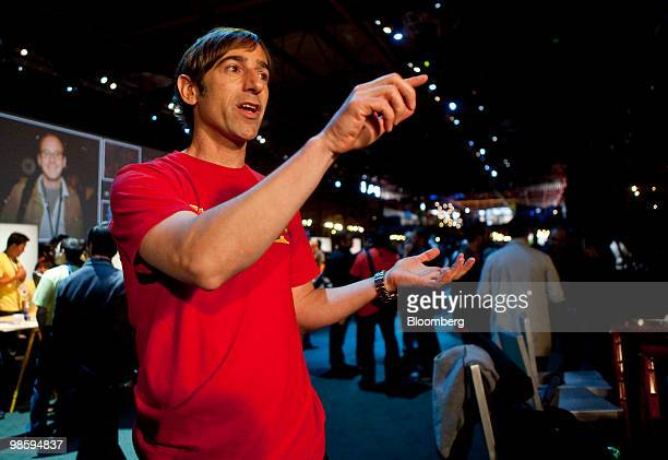 Mark Pincus chief executive officer of Zynga Game Network Inc speaks during an interview at the annual Facebook F8 developers conference in San...