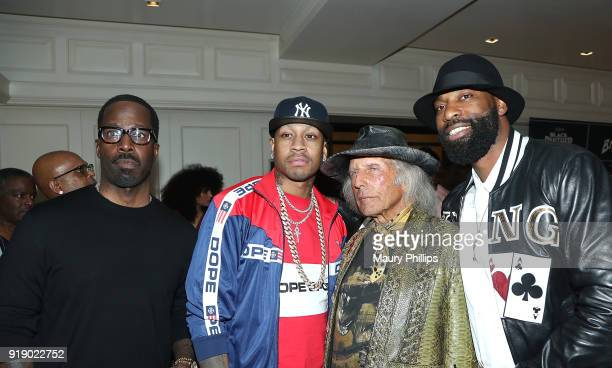 Mark Pitts Allen Iverson James Goldstein and Baron Davis attend LA AllStar Weekend Kick Off Party at the London Hotel on February 16 2018 in Los...